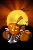 Pretty pumpkin. Pretty Halloween pumpkin with a shine in striped socks Royalty Free Stock Photography