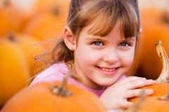 Pretty in the Pumpkin Patch Stock Images