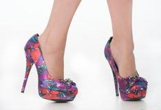 Pretty purple print shoes. Stock Images