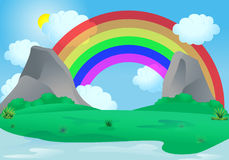Pretty rainbow. Illustration of a rainbow appear over an alley between two rock mountain on blue sky background Stock Photo