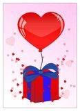 Pretty red ballon, present and heart for valentines day Stock Photos