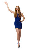 Pretty red hair girl in blue dress isolated on Royalty Free Stock Images