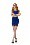 Pretty red hair girl in blue dress isolated on Stock Photography