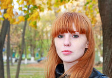 Pretty red hair girl looks at camera. Royalty Free Stock Photo