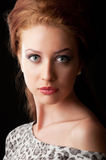 Pretty red hair girl portrait. Pretty red hair girl looking at camera with big eyes Royalty Free Stock Photos