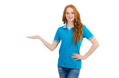 Pretty red hair girl on white Stock Photography