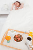 Pretty red-haired female sleeping Stock Photo