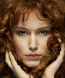 Pretty red-haired girl with curls, freckles, Portrait. Pretty red-haired girl with curls, freckles, Fashion Girl Portrait royalty free stock photos