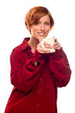 Pretty Red Haired Girl with Hot Drink Mug Isolated Royalty Free Stock Photos