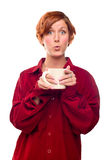 Pretty Red Haired Girl with Hot Drink Mug Isolated Stock Photos