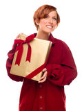 Pretty Red Haired Girl with Wrapped Gift Isolated Stock Images