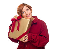 Pretty Red Haired Girl with Wrapped Gift Isolated Royalty Free Stock Photography