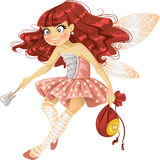 Pretty red haired tooth fairy in pink Royalty Free Stock Photography