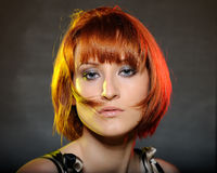 Pretty red haired woman with fashion bob hairstyle Stock Photos