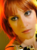 Pretty Red Haired Woman With Fashion Bob Hairstyle Royalty Free Stock Photo