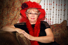 Pretty Red Hat Lady royalty free stock images