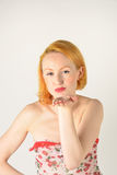Pretty red head blowing kiss Royalty Free Stock Image