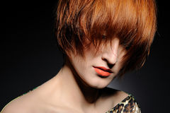 Pretty Red Heaired Woman With Fashion Hairstyle
