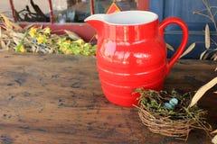 Pretty red pitcher Stock Photo