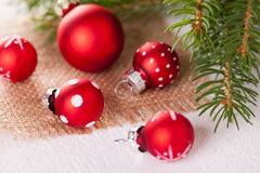 Pretty red polka dot Christmas bauble Stock Images