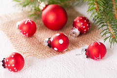 Pretty red polka dot Christmas bauble Royalty Free Stock Photography