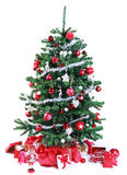 Pretty red and silver themed Christmas tree Royalty Free Stock Photo