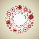 Pretty Red Wreath Frame. Graphic Elements in a  Wreath Design copyspace to center Stock Photography