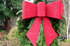 Pretty red Xmas Ribbon Stock Photo