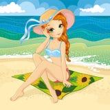 Pretty Redhair Girl In Retro Bikini Royalty Free Stock Photography