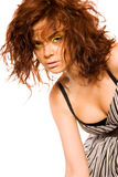 Pretty redhead with bright makeup Royalty Free Stock Image