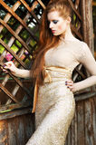Pretty Redhead Woman in Elegant Dress outdoors Stock Photos