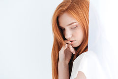 Pretty redhead woman Royalty Free Stock Photos