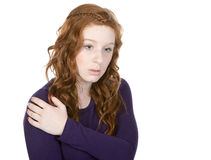 Pretty Redheaded Teen Looking Down Royalty Free Stock Photography