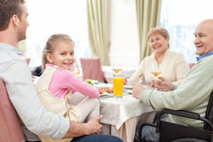 Pretty relatives have a lunch in cafe Royalty Free Stock Images