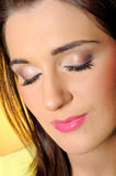 Pretty relaxed woman with natural make-up Royalty Free Stock Images