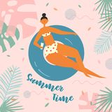 Pretty relaxed woman swimming on inflatable circle royalty free illustration