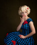 Pretty Retro Blonde Woman Royalty Free Stock Photo