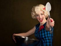 Pretty Retro Blonde Woman Royalty Free Stock Photography
