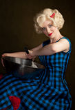 Pretty Retro Blonde Woman Stock Photography