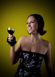 Pretty retro girl drinking wine Stock Photo