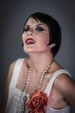 Pretty Retro posing lady,  flapper dress, Girl dreaming beautifu Royalty Free Stock Image