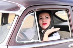 Pretty Retro Woman Waving Goodbye Royalty Free Stock Photos