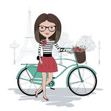 Pretty rider. Illustration of pretty girl with bicycle in Paris Royalty Free Stock Photography
