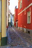 Pretty Riga backstreet. Pretty cobbled backstreet in Riga, Latvia Stock Image