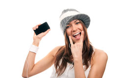 Free Pretty Rock Girl Showing Rock N Roll Cellular Stock Photo - 18436480