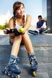Pretty roller skater Stock Image