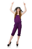 The pretty romantic girl in purple overalls isolated on white Royalty Free Stock Images