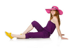 The pretty romantic girl in purple overalls isolated on white Stock Image