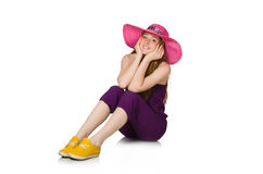 The pretty romantic girl in purple overalls  on white Stock Photos