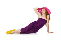 The pretty romantic girl in purple overalls  on white Stock Photo